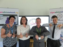 Wigan and Leigh CAB's Chief Officer Lisa Kidston, with WAND's Project Development Manager Julia Jenkinson, Project Manager Rob Ramwell and Training and Development Officer Ben Banks are calling for people from the Wigan Borough to share their best and worst advice.