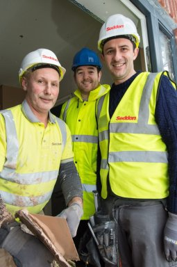 Vinny Moss - Seddon plasterer, Nick Anderton - project manager, Halton Housing Trust and Steve Foster, Seddon Direct Services manager