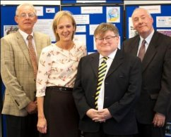 L-R: Chairman Mike Aspinall, Exec. Manager Carol Sankey, Sir Ian McCartney and Terry Harpur